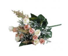 1x artificial roseta de flores artificiales para la decoración del hogar sin jarrón y cesta, 1Bunch de la flor, color de rosa