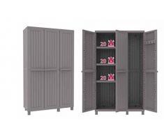Armario de Resina, 2 Puertas con estantes y una puerta de escobero T/P102A