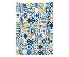ABAKUHAUS Amarillo Y Azul Mantele, Mosaico De Azulejo, Estampa con Colores Vívidos Durables Lavable Apto Uso Exterior, 140 x 240 cm, Blanco Violeta Azul Mostaza