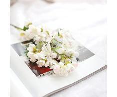 Flores Artificiales,Xinan Flores de Cerezo Decoración para Hogar Boda (Blanco)