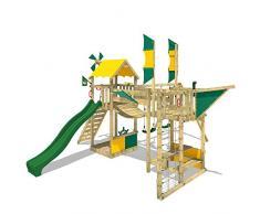 WICKEY Parque infantil de madera Smart Wing con columpio y tobogán, Casa de juegos de jardin con escalera para niños