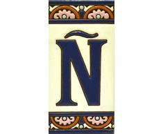 """Letreros con numeros y letras en azulejo de ceramica policromada, pintados a mano en técnica cuerda seca para placas con nombres, direcciones y señaléctica. Texto personalizable. Diseño ARCO GRANDE 14,9 cm x 7,4 cm. (LETRA """"Ñ"""")"""