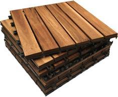 Baldosas de madera de acacia maciza, diseño entrelazado, 6 unidades, extra gruesas para terrazas de madera Para patio, jardín, balcón, jacuzzi. Baldosa cuadrada para terraza de 30 cm.