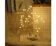 Nulala Lámpara led de estilo bonsai con perlas, alambre de cobre, luz nocturna, USB, lámpara LED de árbol para decoración navideña, hogar, fiesta, interruptor táctil, lámpara de mesa, otros