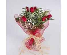 Ramo de 6 rosas rojas naturales