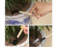 Fannty 3 Unids Multifuncional Mini Planta de Herramientas de Jardinería Jardín Kit Pala Pala de rastrillo Mango De Madera Cabeza de Metal Herramienta de Reparación de Jardín