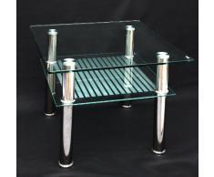 Mesa de centro de cristal de 60 x 60 cm de acero inoxidable con vidrio de seguridad templado de 10 mm