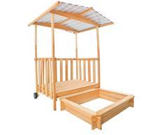 TecTake Arenero con techo para niños Veranda Madera Protección contra el sol rojo