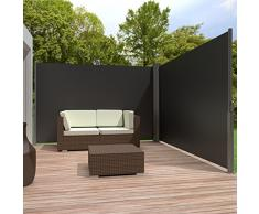 TecTake Toldo lateral doble separador retráctil terraza protección jardin De vivienda y de base postes completo de aluminio 200x600 negro