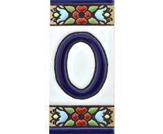 """Números casa. Letreros con numeros y letras en azulejo de ceramica policromada, pintados a mano en técnica cuerda seca para placas con nombres, direcciones y señaléctica. Texto personalizable. Diseño FLORES MINI 7,3 cm x 3,5 cm. (NUMERO CERO """"0"""")"""