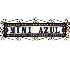 """Letreros con numeros y letras en azulejo de ceramica policromada, pintados a mano en técnica cuerda seca para placas con nombres, direcciones y señaléctica. Texto personalizable. Diseño AZUL MINI 7,3 cm x 3 cm. (LETRA """"F"""")"""