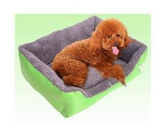 Yihya Lavable Lindo Cuadrado Verde Suave Calentar Mascotas Pet Perros Casa Choza Cachorro Gato Cama Doggy Doghouse Cojín Basket (Tamaño Mediano: 58 * 45 * 14cm)