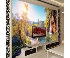 Wapel Papel tapiz adhesivo pared Fresco 3D HD 3D belleza exterior Vintage Woodbridge Baldosa suelo 3D PINTURA 300Cmx210cm