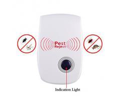 TKOOFN Ultrasónico Electrónico del Mosquito del Ratón Control de Plagas Repelente del Susto del Insecto (Ultrasónico)