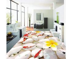 Aduana de cualquier tamaño 3D Pegatinas de piso de adoquín estereoscópico Impermeable Baño PVC Autoadhesivo Mural Wallpaper, 150 * 105 cm