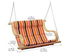 Balancin de jardin   cubierto con tela en rayas de colores   Columpio para toda la familia   elementos de fijación incluidos