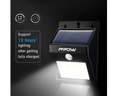 Foco Solar de 8 LED, Mpow Lamparas Solares con Sensor de Movimiento,Focos para la Pared de Luz Solar , Led Solar Movimiento, Luces de Exterior Solar para Jardín,Patio,Terraza,Escaleras,Camino de entrada,Iluminación y Seguridad de exterior.