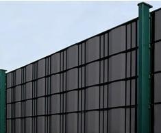 35m Rodillo de protección visual antracita RAL 7016, espesor del material 0.7 kg/m², incluyendo 20 Clips de plástico, ancho de rodillo 19cm, para cercas de jardín, alfombrillas de una o dos barras cercas con malla de altura 20 cm, Model 4828