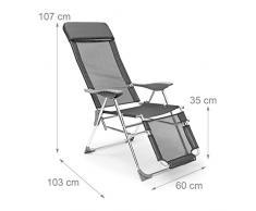Relaxdays Tumbona Plegable Ajustable a 3 Posiciones, Aluminio-Poliéster, Antracita, 111 x 60 x 75 cm, 136x60x111 cm