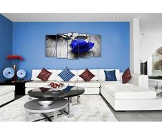 DekoArte - Cuadro moderno Flor Azul sobre suelo de madera, XXL 200X100cm