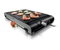Philips HD4418/20 - Plancha Grill Placa lisa 2300 W con termostato ajustable, superficie antiadherente de la placa, elimina la grasa