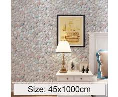 PAN decoración del hogar etiqueta de la pared Adoquín Creativo 3D Piedra Ladrillo Decoración Pegatinas de papel tapiz Dormitorio Sala de estar Pared Rollo de papel tapiz impermeable, Tamaño: 45 x 1000