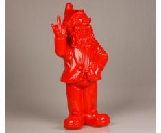 Figura enanito de jardín travieso sacando el dedo - para casa y jardín - rojo - 15 x 12 x 32 cm