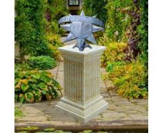 Jardín sueño Metal Reloj de sol con piedra columna – graphos/arena