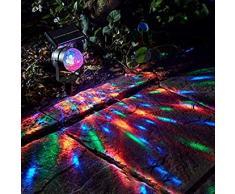 TiooDre Lámpara de energía solar Proyector LED Luz de colores Luz giratoria Luz solar Jardín al aire libre Lámpara Patio Decoración para patio, camino, cerca