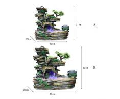 Xilinshop-Fuentes decorativas Fuente de Piedra de montaña de Interior Creativa Cascada de Tres Pisos y atomizador Humidificador de decoración de Escritorio (tamaño : L)