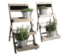 Escalera de plantas, macetas, flores soporte de Herb & planta teatro - tres niveles Shabby Chic blanco
