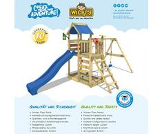 WICKEY Parque infantil de madera MultiFlyer con columpio y tobogán, Torre de escalada blu da exterior con arenero y escalera para niños