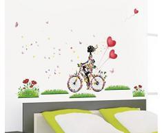 Ecloud Shop® Pared resistente al agua motorista encantador dormitorio fondo niña salón pegatina Decoración