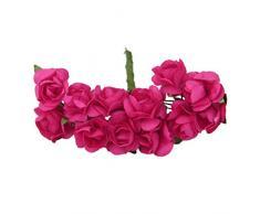 144pcs Ramo Rosa Artificial Flor Papel Decoración para Hogar Boda (fucsia)