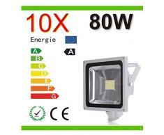 Mcitymall® 10x 80W Blanco Frío SMD Proyector Proyector LED con la lámpara Jardín detector de movimiento