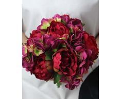 """kiuytghnb 10.2 """"alta calidad Artificial hortensias y Peony Artificial ramo de flores para boda y decoración 1 ramo colcha"""
