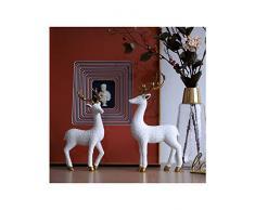 Amoy-Art 2 Piezas Ciervo Figura Escultura Decorativa Regalo Estatua Decoración del Hogar Hecho a Mano Souvenir Caja de Regalo Pintura Segura para Niños Poliresina Blanco 30cmH