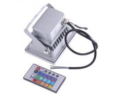 SODIAL(R) LED Luz de Foco Impermeable 10W 900LM 16 Colores RGB Lampara de Jardin Exterior & Interior con Control Remoto