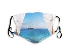 Cobertor para la cara, playa a través de una cama balinesa de verano, cielo claro luna de miel natural, imagen de spa, cubierta de boca reemplazable, lavable, antipolvo, ajustable, tamaño adulto: M