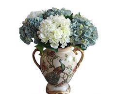 "Calcifer 17.72 ""vintage Artificial ramo de flores de Hortensia para decoración del hogar/decoración de boda, azul, Package Quantity: 5Pcs"