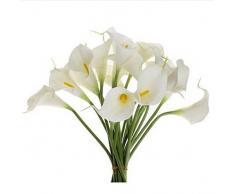 Sanysis flores artificiales individuales, 1 X 10 cabezas lirio de flores de seda (Blanco)