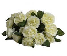 1 de la flor artificial de Rose Bounquet artificial para la decoración del hogar y oficina sin jarrón y cesta, 1Bunch de la flor, verde claro