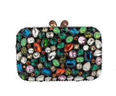 Yilongsheng Las mujeres del adoquín piso bolsos de embrague con coloridas piedras de cristal(negro multicolor)