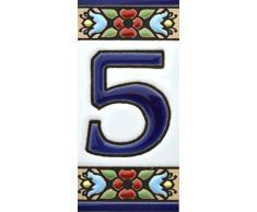 """Números casa. Numeros y letras en azulejo ceramica policromada, pintados a mano técnica cuerda seca. Nombres y direcciones. Diseño FLORES MINI 7,3 cm x 3,5 cm. (NUMERO CINCO """"5"""")"""