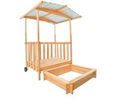 TecTake Arenero Casita para niños Veranda para niños Madera Protección contra el sol Cajón de arena + Techo Tapa
