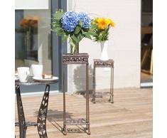 Relaxdays – Taburete cuadrado para plantas, tamaño L: 72,5 x 24 x 24 cm, hierro fundido, jardín terraza patio, 2 depósitos, mesa auxiliar, color marrón oscuro/bronce