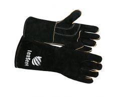 Piel Por leaseek – Guantes de barbacoa resistente al calor y retardante de llama soldadura guantes y chimenea guantes y guantes de parrilla y barbacoa guantes, Heavy Duty, Negro – 14