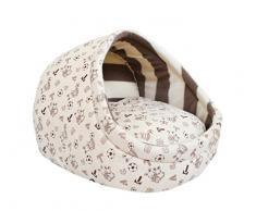 V-SOL Casa Caseta con Suave Cama para Mascota Perro Gato (S, C-blanco)