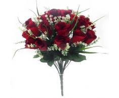 Ramo de flores artificiales de seda, de 42 cm, diseño de rosas amarillas y diferentes hojas verdes, Rojo, 1 Bunch