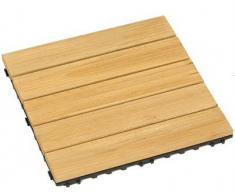 Mitef - Juego de 6 baldosas de madera antideslizantes de fácil instalación para patio, jardín, terraza, baño, ducha, multicolor y multicolor